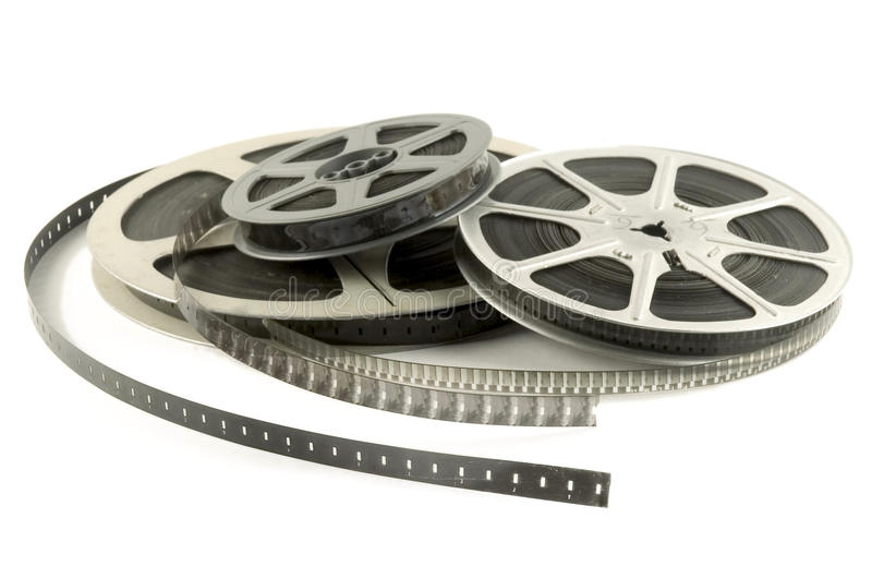 Cinema roll film. On a white background stock photography