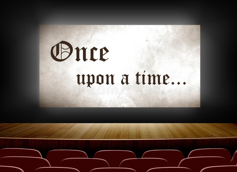 Cinema screen with once upon a time stock illustration