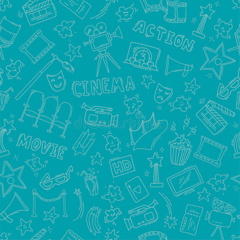 Cinema seamless pattern with hand drawn elements royalty free illustration