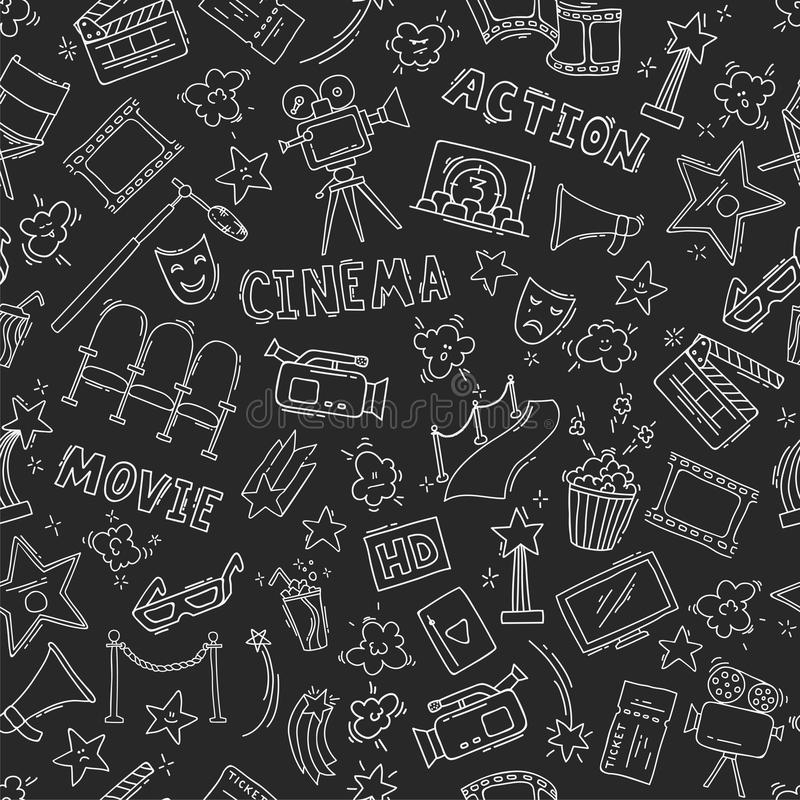 Cinema seamless pattern with hand drawn elements. Background with clapperboard, camera, chairs, awards, film strip, popcorn ticket and others. Vector stock illustration
