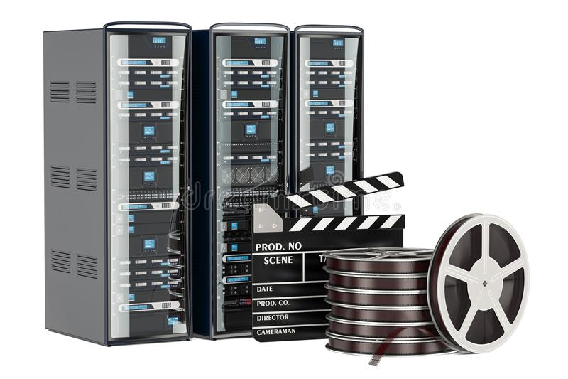 Cinema Server concept. Computer Server Racks with film reel and royalty free illustration