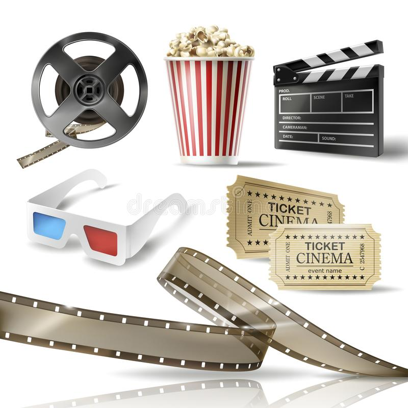 Cinema set of 3D realistic objects vector illustration