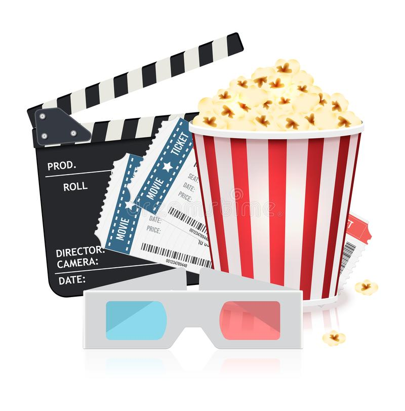 Cinema set with popcorn bucket, tickets, 3d glasses and clapper board. Vector illustration in realistic style. stock image