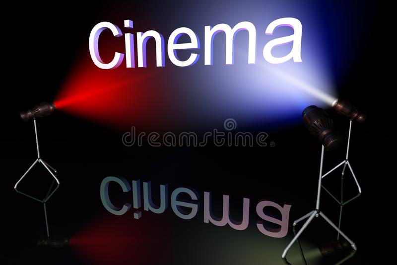 Cinema sign. On black background lit by multycolored lights royalty free illustration