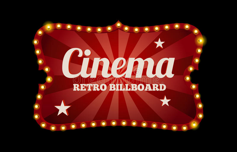 Cinema sign or billboard. In retro style surrounded by neon lights on a dark background with text space vector illustration