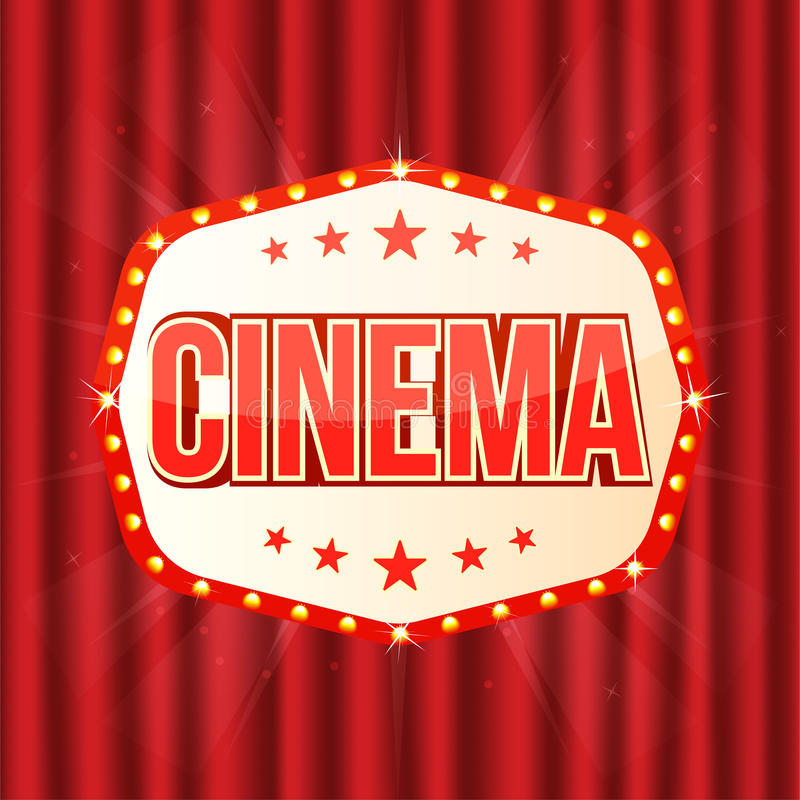 Cinema sign on red curtain. Retro light frame with glowing lamps stock illustration