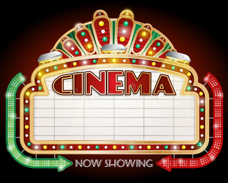 Cinema sign with two arrows. Illustration of a Cinema sign with two arrows vector illustration