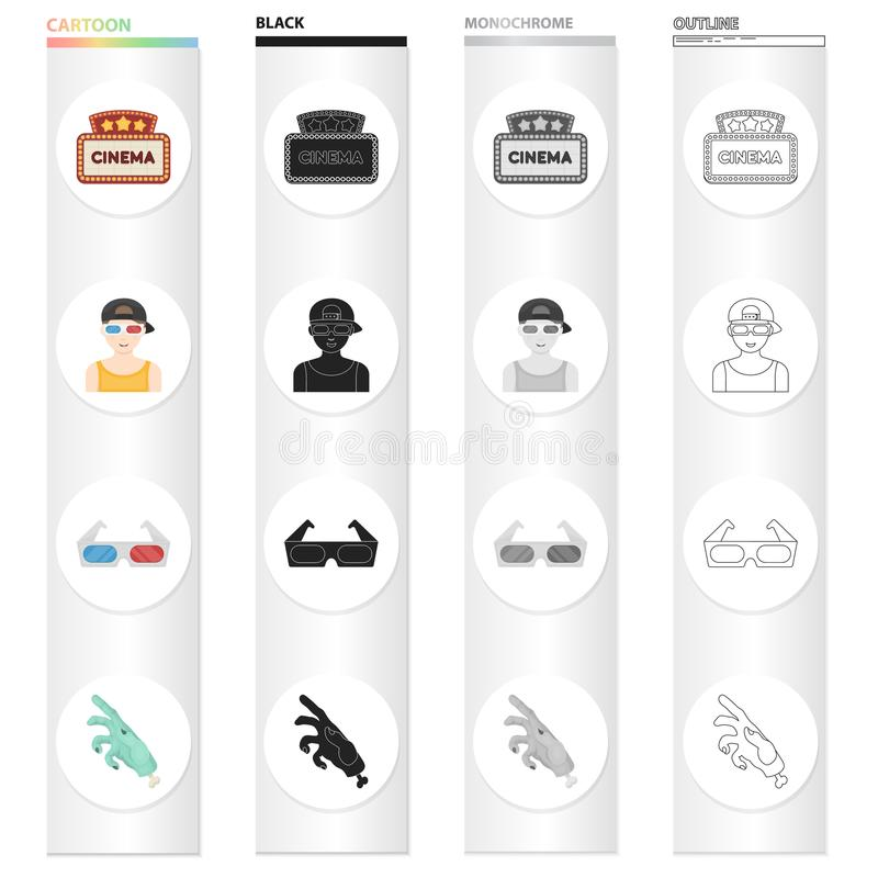 Cinema sign, viewer, 3D glasses, special effects, mechanical hand. Film and Cinema set collection icons in cartoon black. Monochrome outline style vector symbol vector illustration