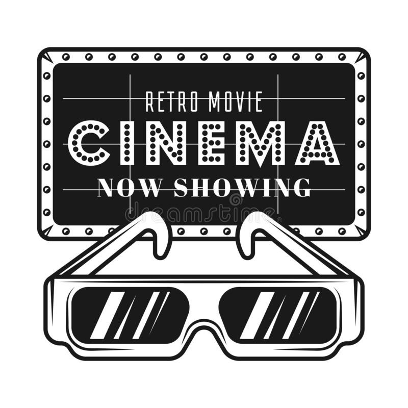 Cinema signboard and 3d glasses vector objects. Cinema announcement signboard and stereoscopic paper glasses vector black objects or design elements isolated on vector illustration