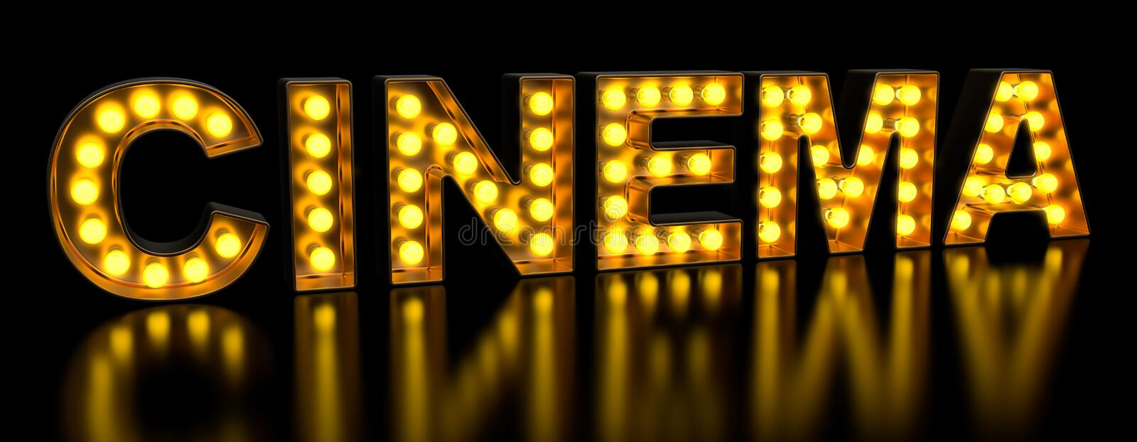 Cinema signboard from golden light bulb letters, retro glowing font. 3D rendering stock illustration