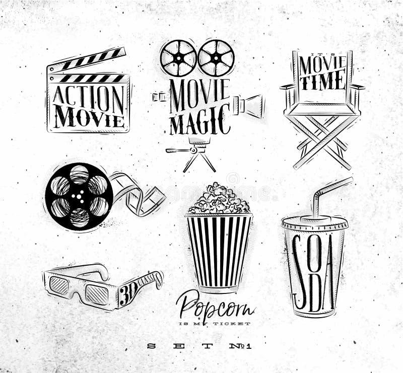 Cinema signs vector illustration