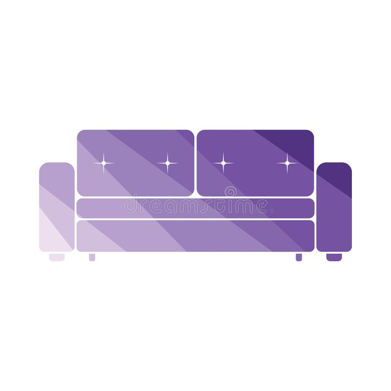 Cinema sofa icon. Flat color design. Vector illustration royalty free illustration