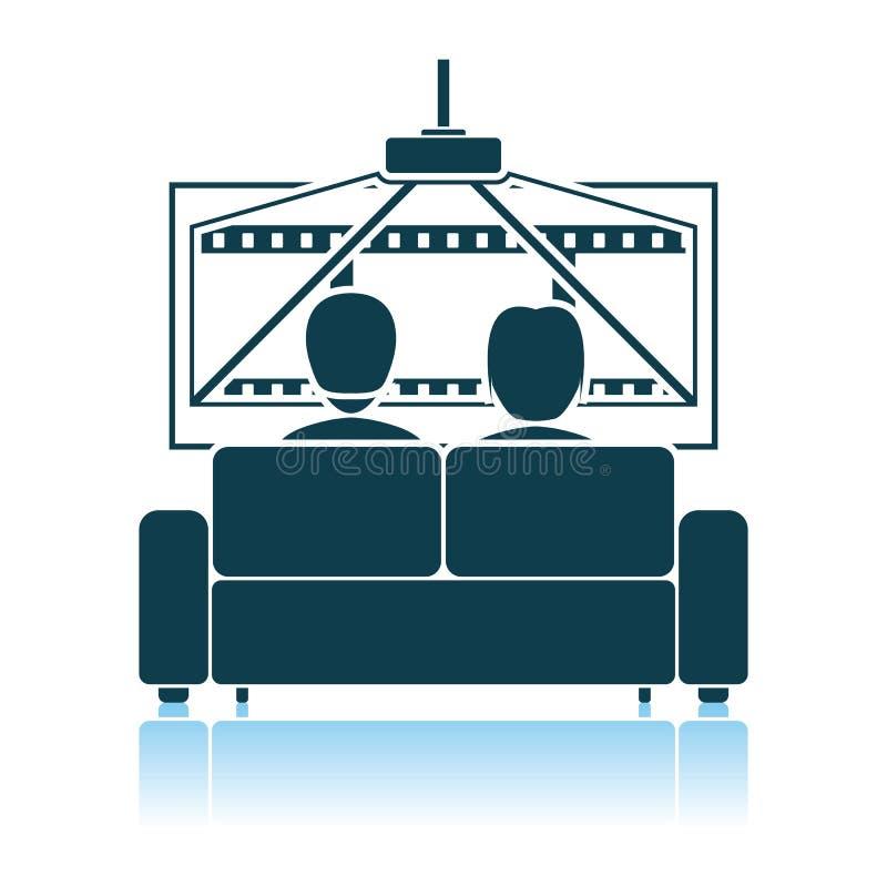 Cinema Sofa Icon. Shadow Reflection Design. Vector Illustration royalty free illustration