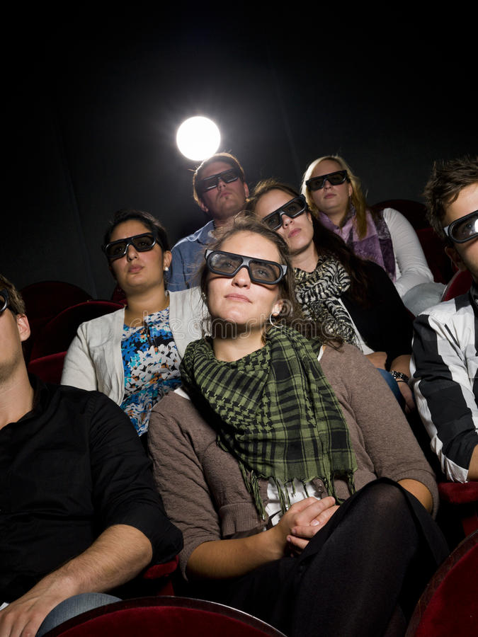 Cinema Spectators With 3d Glasses Royalty Free Stock Photography