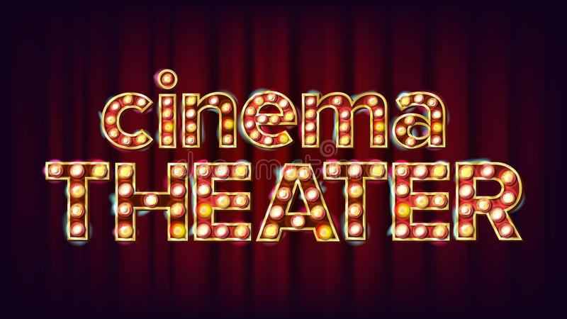 Cinema Theater Banner Vector. Cinema Glowing Lamps. For Concert, Party Design. Modern Illustration vector illustration