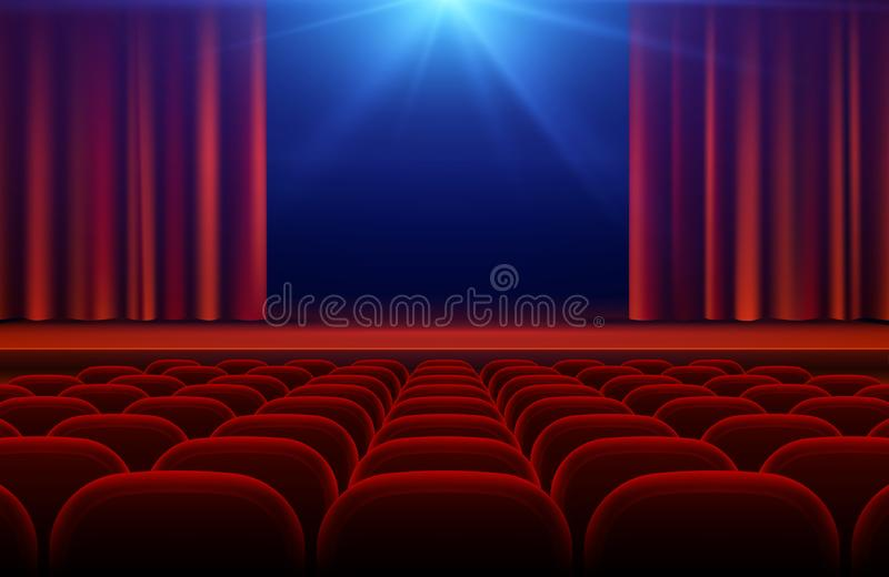 Cinema or theater hall with stage, red curtain and seats vector illustration royalty free illustration