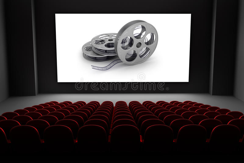 Cinema theater with reels of film on the screen. royalty free illustration