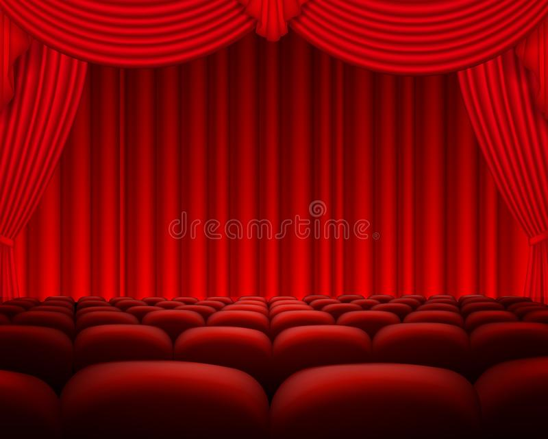 Cinema or theater scene with a curtain royalty free illustration
