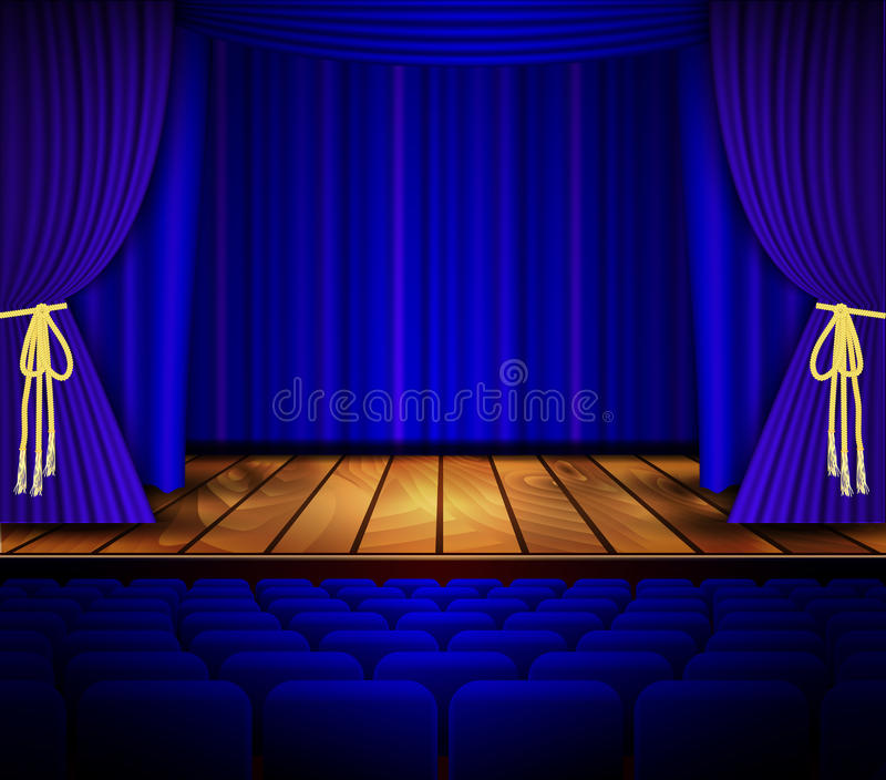 Cinema or theater scene with a curtain. royalty free illustration