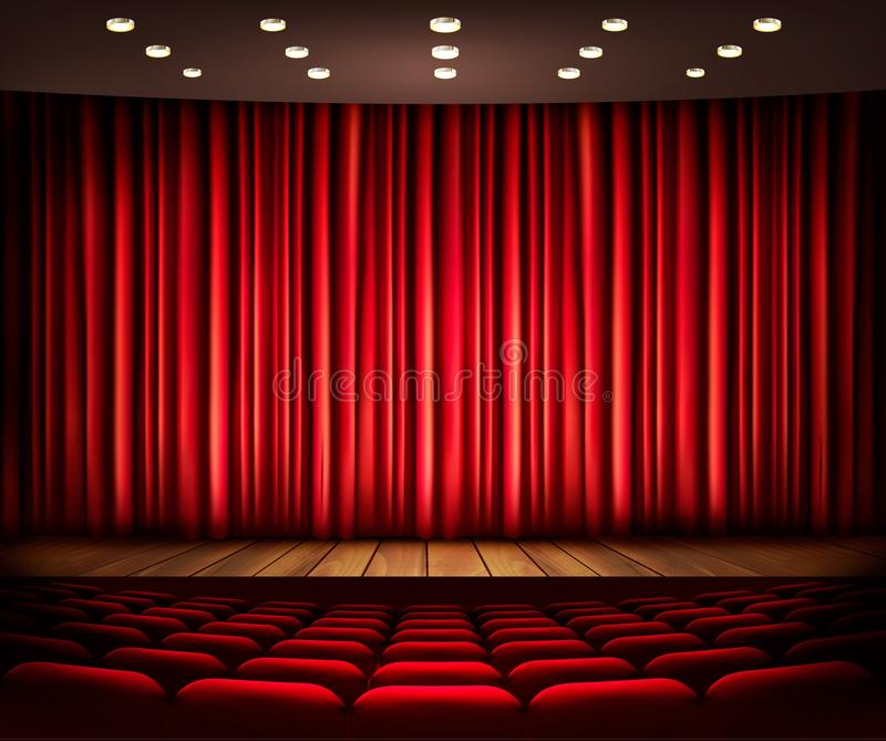 Cinema or theater scene with a curtain. stock illustration