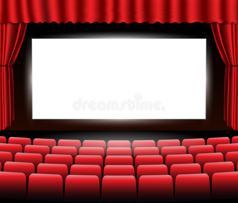 Cinema or theater scene with a curtain. Vector. royalty free illustration