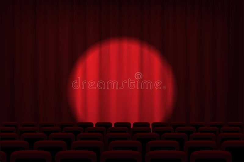 Download Cinema Or Theater Stage With Spotlight On Red Curtains And Chairs.  Vector Theater,