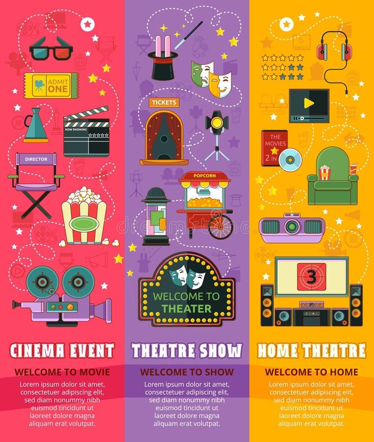 Cinema, theatre, home theatre. Icon set. Vector illustration vector illustration