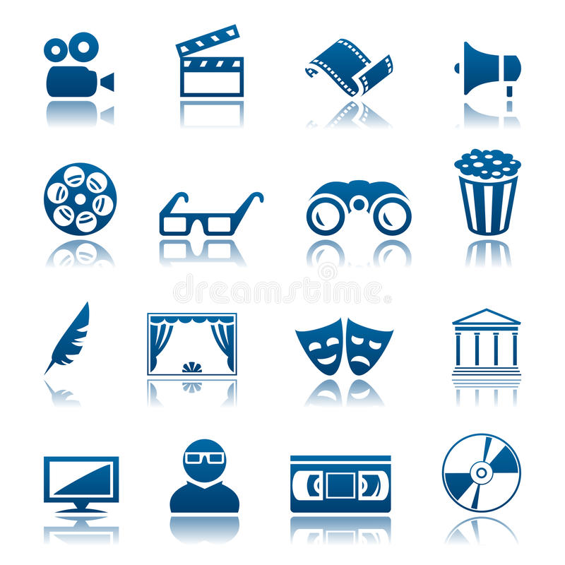 Cinema and theatre icon set stock illustration