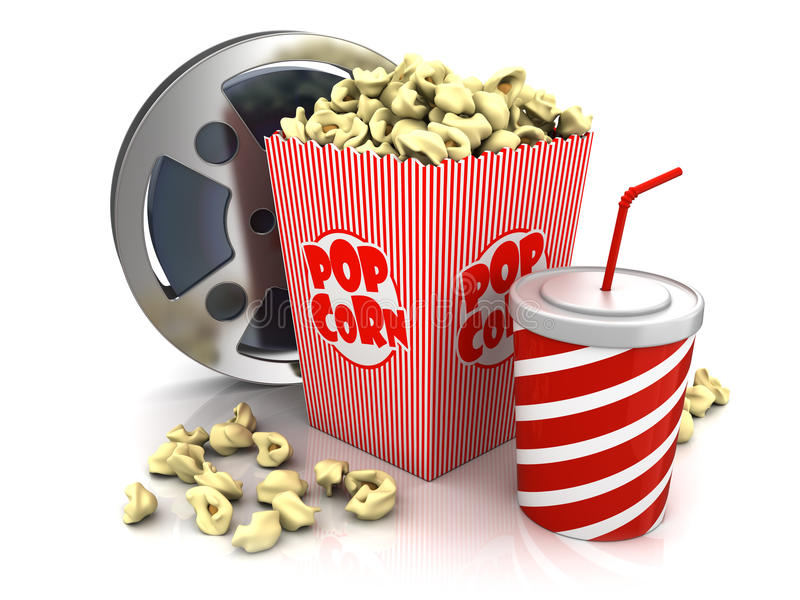 Cinema theatre objects. Film reel, popcorn and cup of soda over white background vector illustration