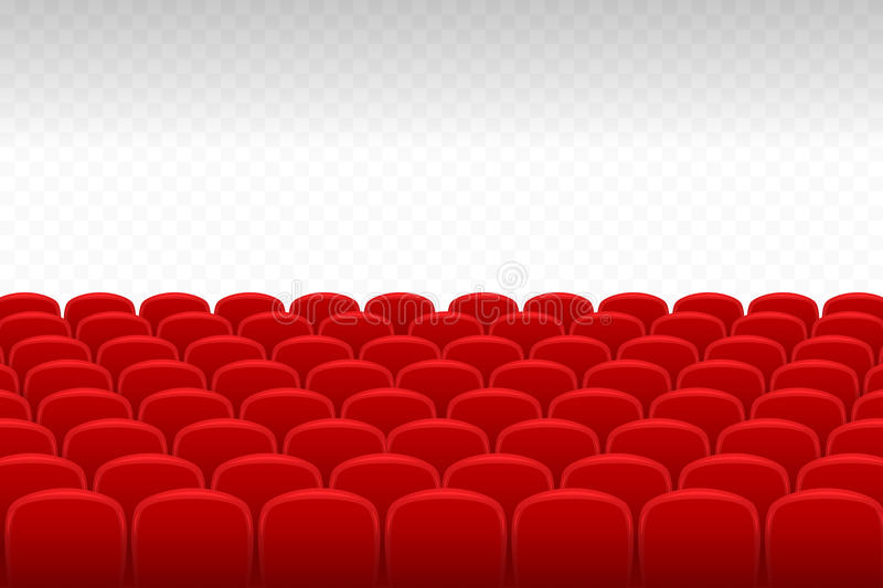 Cinema Theatre Rows Of Red Velvet Seats With Transparent