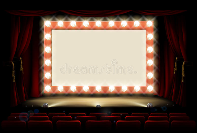 Cinema or theatre with style light bulb sign. Light bulb sign on a cinema or theatre stage royalty free illustration
