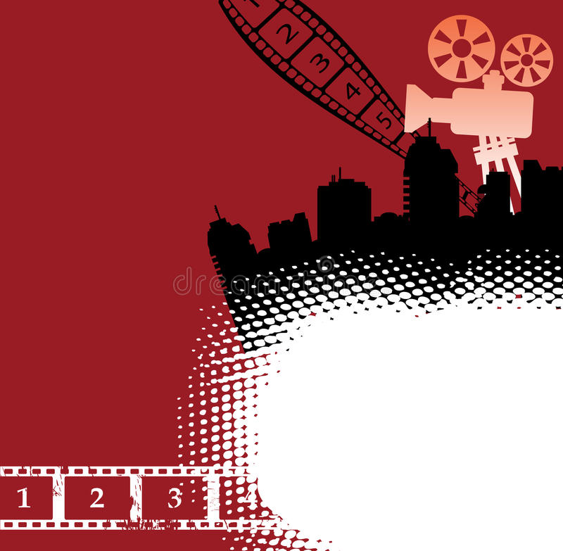 Cinema theme. Abstract colorful illustration with numbered filmstrip, movie projector and various building shapes stock illustration