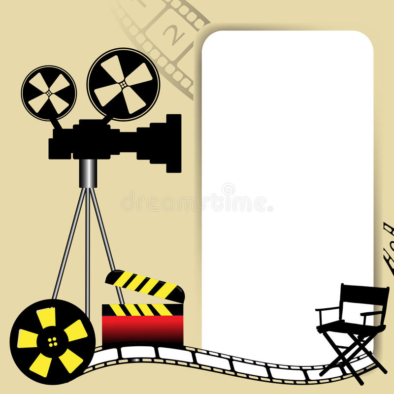 Cinema theme. Abstract colorful background with white frame, movie camera, film reel, director chair and clapboard. Cinema concept stock illustration