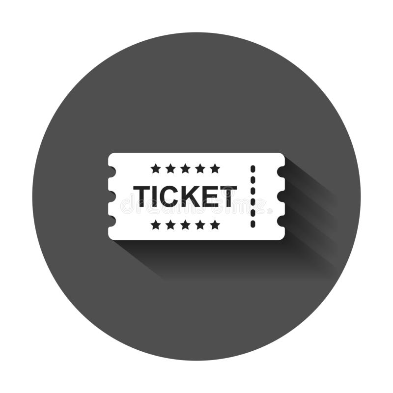 Cinema ticket icon in flat style. Admit one coupon entrance vector illustration with long shadow. Ticket business concept. Cinema ticket icon in flat style royalty free illustration