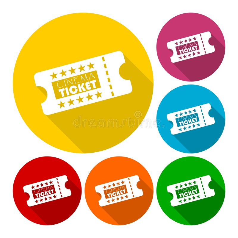 Cinema ticket icons set with long shadow. Icon stock illustration