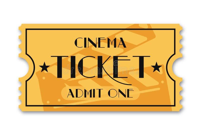 Cinema ticket isolated on background. Vintage admission movie ticket template stock illustration