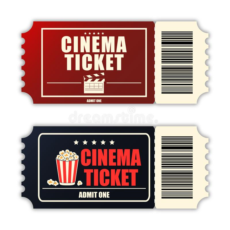 Cinema ticket set. Template of two realistic movie tickets isolated on white background. Vector. Cinema ticket set. Template of two realistic movie tickets stock illustration