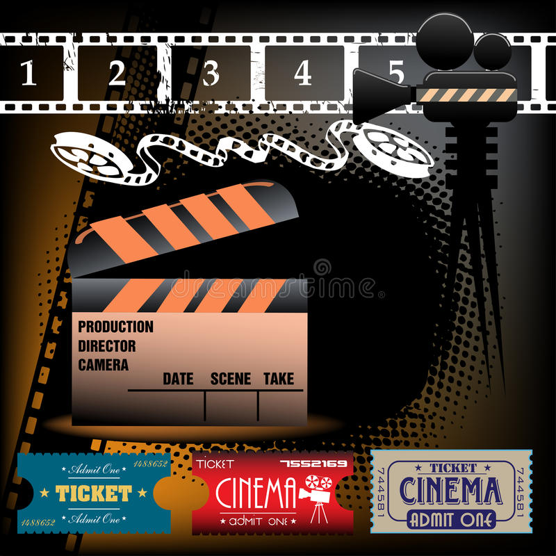 Cinema tickets. Colorful illustration with film reel, clapboard and cinema tickets royalty free illustration