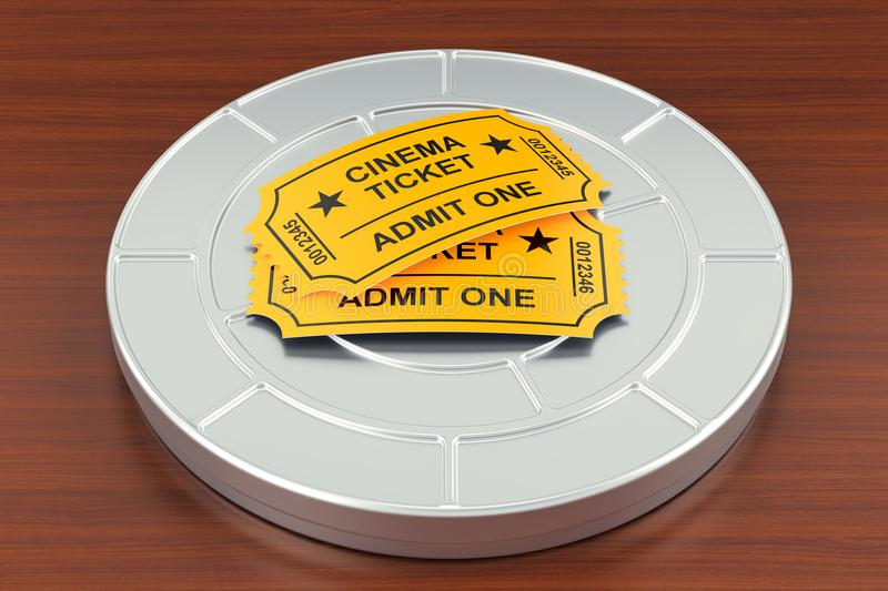 Cinema tickets and film reel on the wooden table. Movie and cine royalty free illustration