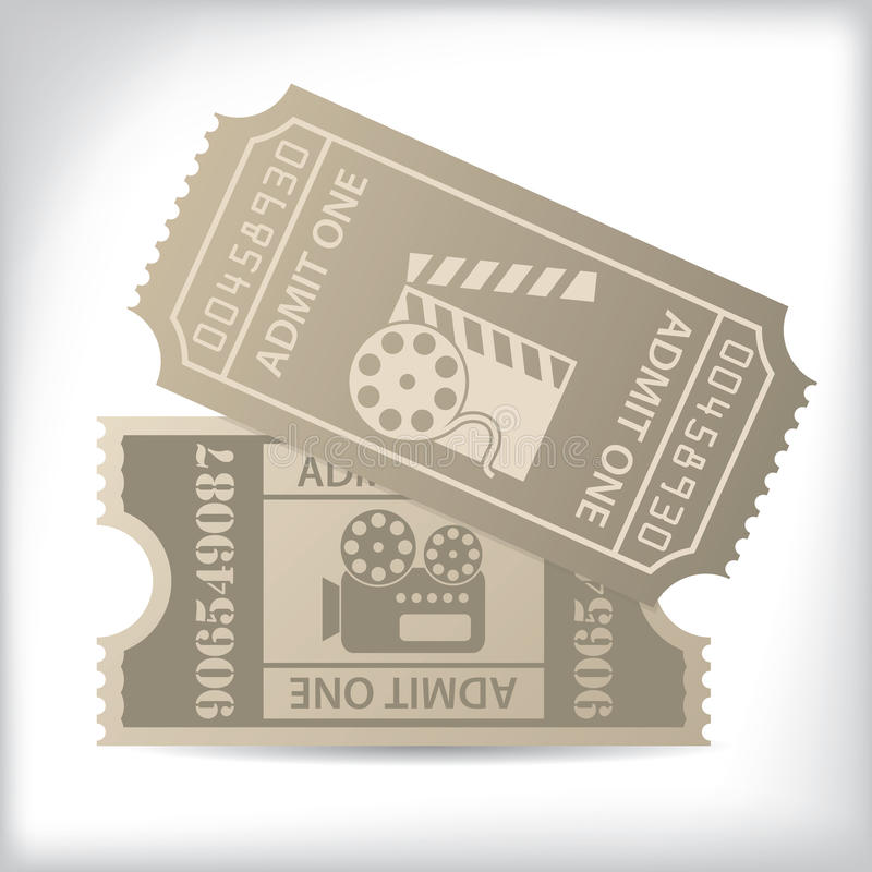 Cinema Tickets With Icons And Text Royalty Free Stock Photos