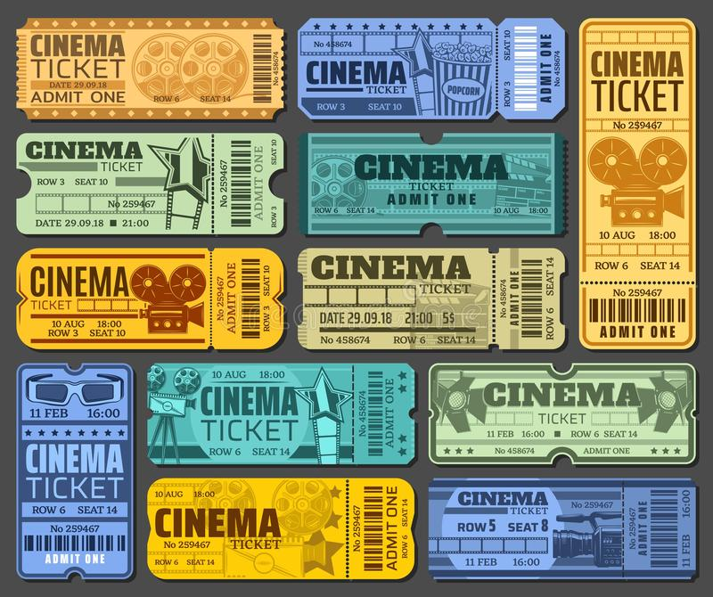 Cinema tickets for movie show or seance isolated vector illustration