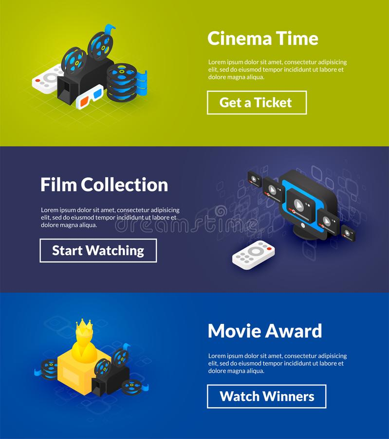 Cinema time film collection and movie award banners of isometric color design vector illustration