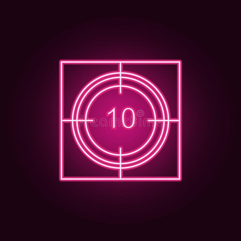 cinema timer icon. Elements of Cinema in neon style icons. Simple icon for websites, web design, mobile app, info graphics royalty free illustration