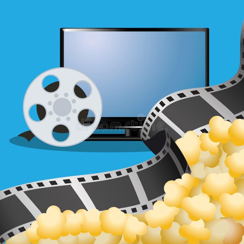 cinema tv film reel with pop corn poster vector illustration
