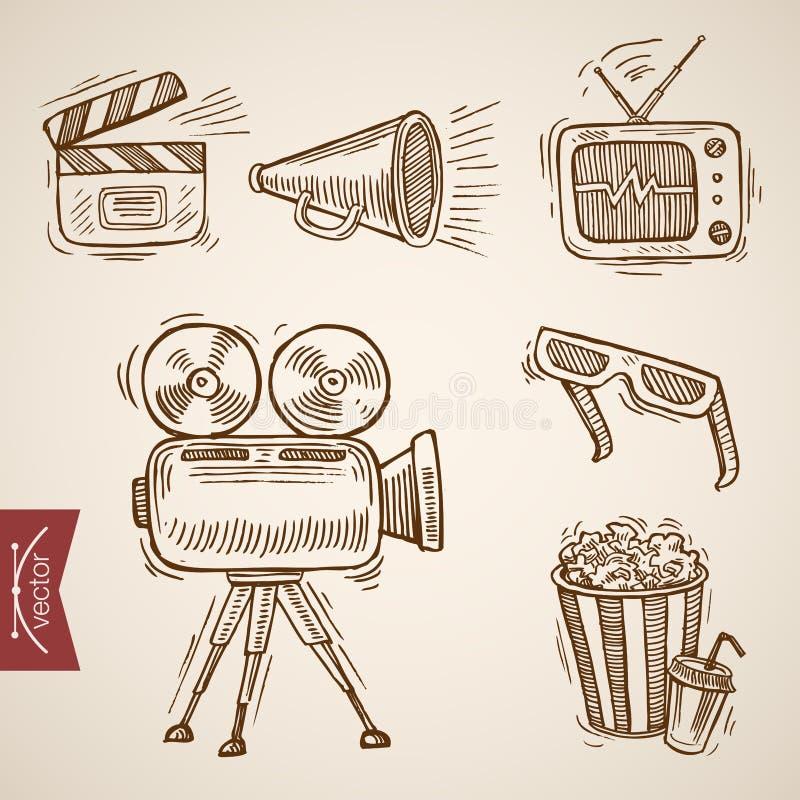 Cinema TV television film show popcorn engraving vector vintage. Cinema TV television show popcorn clapper 3d glasses film icon set. Engraving style pen pencil stock illustration