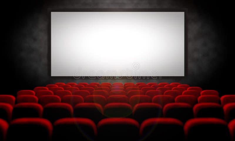 Cinema vazio com assentos vermelhos de veludo ilustração stock