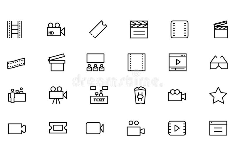 Cinema Vector Line Icons 3. If you're looking to add some adrenaline to your designs, this cinema icons set is sure to do the trick. Perfect for your cinema royalty free illustration
