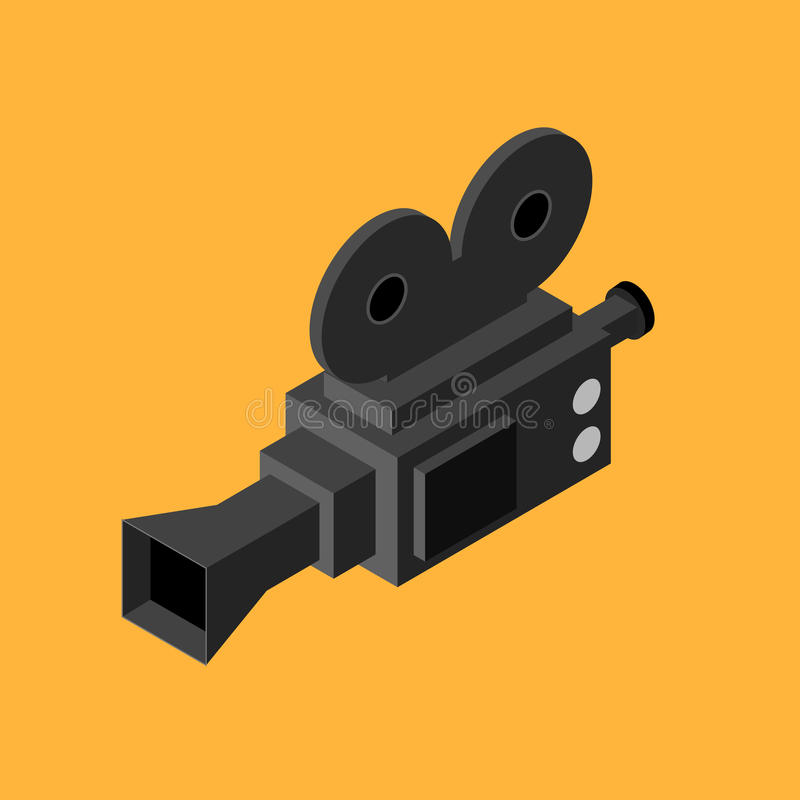 Cinema Video Camera Isometric View. Vector. Cinema Black Video Camera Isometric View Equipment for Record Movie or Film. Vector illustration royalty free illustration