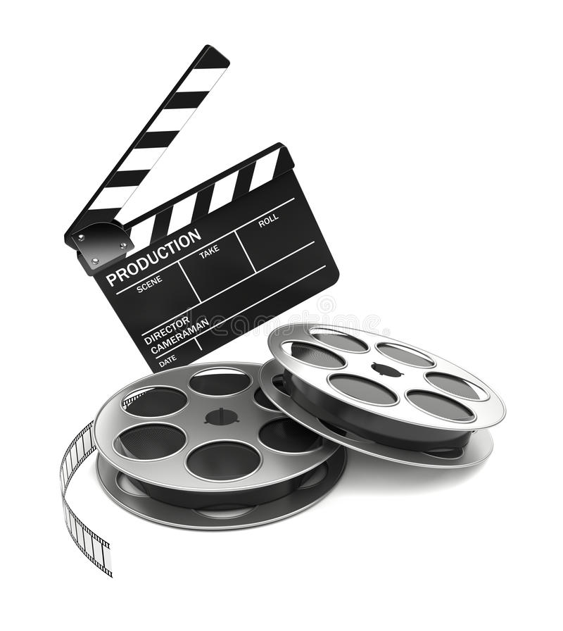 Cinema. And video industry concept. Slate board and film reel. 3d rendered image vector illustration