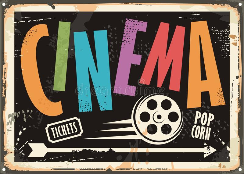 Cinema vintage signboard design concept. With colorful text and film roll on black background. Vector illustration royalty free illustration
